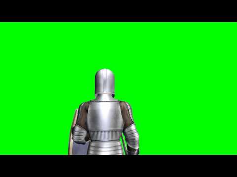 Third-Person Medieval Warrior walk  green screen effects