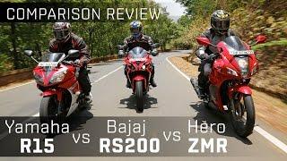 getlinkyoutube.com-Bajaj Pulsar RS200 vs Yamaha R15 vs Hero Karizma ZMR :: Bike Comparison Video :: ZigWheels