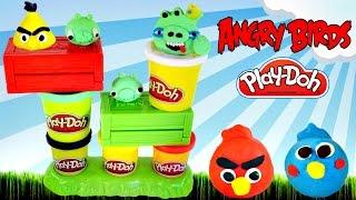 getlinkyoutube.com-Play Doh Launching Angry Birds Build N' Smash Game How To Make AngryBird Frozen Fashems Superhero