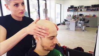 getlinkyoutube.com-Barber Girl - Complete Head shave  - ASMR sounds