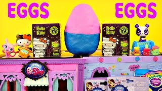 getlinkyoutube.com-BEST 15 Play Doh Eggs LPS MLP Frozen Hello Kitty Blind Boxes Surprise Toy Bags Huevos