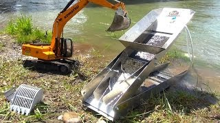 getlinkyoutube.com-RC ADVENTURES - GOLD Dredge & Sluice Plant with an Earth Digger 4200XL Excavator