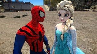 getlinkyoutube.com-Spiderman vs Elsa The Snow Queen - Frozen