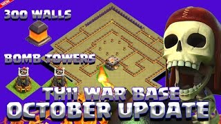getlinkyoutube.com-Clash Of Clans - TH11 WAR BASE OCTOBER UPDATE 300 WALLS 2 BOMB TOWERS