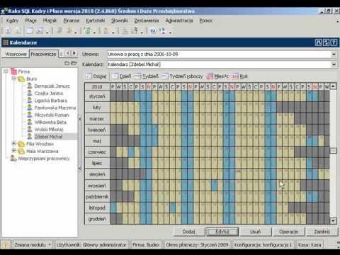 Przedłużanie kalendarzy pracowniczych programu RAKSSQL