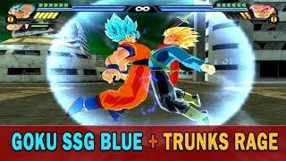 getlinkyoutube.com-Goku SSG Blue and Trunks SSG Rage Fusion | Goktrunks Blue Rage | DBZ Tenkaichi 3 (MOD)