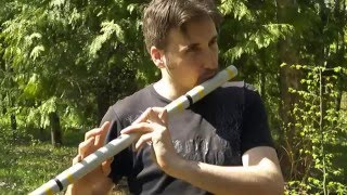 Playing my new homemade PVC flute in the park.