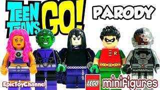 TEEN TITANS GO! Raven Lego Mini Figure + Starfire, Beast Boy, Robin & Cyborg Teen Titans Go Parody