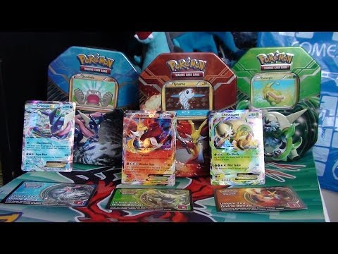 Pokemon 2014 Kalos Power Tin Opening ! Greninja Delphox & Chesnaught Ex!