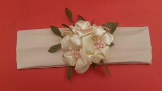 getlinkyoutube.com-DIY Kanzashi Цветы яблони повязка не сложно! сделай своими руками