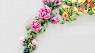 getlinkyoutube.com-Tour Embroidery Ribbon Garland Online Tutorial Lesson 6 of 8: Rose