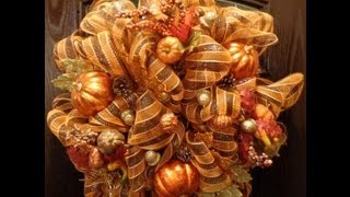 getlinkyoutube.com-Geo or Deco Mesh Fall Wreath
