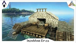 getlinkyoutube.com-ARK IronMine Ep 02: PVE Raft base -The Nest (a small fully outfitted mobile base)