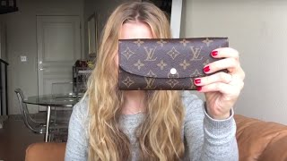getlinkyoutube.com-Louis Vuitton Emilie Wallet (Rose Nacre) REVEAL!