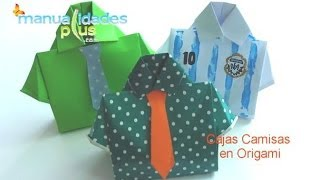 getlinkyoutube.com-Cajas Camisa en Origami Día del Padre Origami Box T-shirt