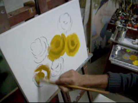 (Aula 01 / 5) Video aula pintura em tela rosas Marcio Monteiro