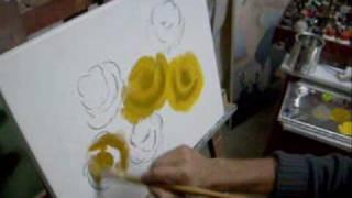 getlinkyoutube.com-(Aula 01 / 5) Video aula pintura em tela rosas Marcio Monteiro