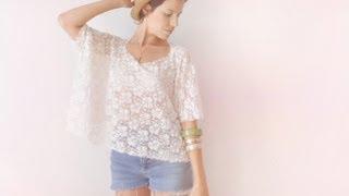 getlinkyoutube.com-2 minutes lace box top DIY tee-shirt - FASHION DIY VIDEO TUTORIAL