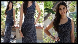 getlinkyoutube.com-DIY How to make a One shoulder Maxi Long Dress DamaV425
