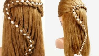 getlinkyoutube.com-Hairstyles For Long Hair. 4 Strand Braid Hair With Ribbon
