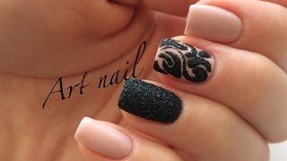getlinkyoutube.com-Маникюр Бархатный Песок! Дизайн Ногтей Гель-лаком и блестками! Nail Art Designs