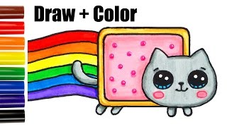 getlinkyoutube.com-How to Draw + Color Nyan Cat step by step Easy and Cute