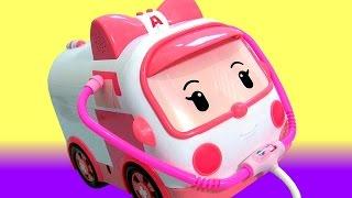 getlinkyoutube.com-Robocar Poli Nurse Amber Car Toy Transforming Ambulance 로보카폴리 엠버 DELUXE 변신기지세트 장난감 병원놀이
