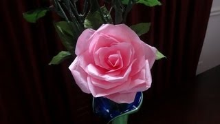 getlinkyoutube.com-How to make tissue paper rose flower with wrapping method / Valentine's day craft