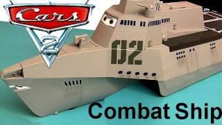 getlinkyoutube.com-Cars 2 Combat Ship Playset with 3 Diecast Cars Tony Trihull Lights Sounds Diecast Disney Pixar toys