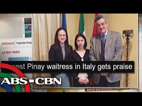 Honest Pinay waitress praised in Italy