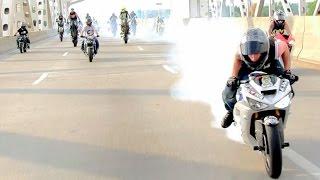 getlinkyoutube.com-INSANE Street Bike Stunts CRAZY Highway WHEELIE + DRIFT Motorcycle TRICKS Riders Are Family Ride