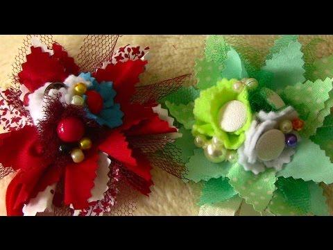 Tiara com flores em tesido com cortes zic-zac Passo a Passo