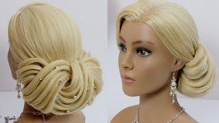 Bridal hairstyle for long medium hair tutorial. Wedding updo