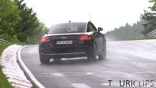 2015 Audi TTS Coupé testing on a very wet Nürburgring (powersliding)!
