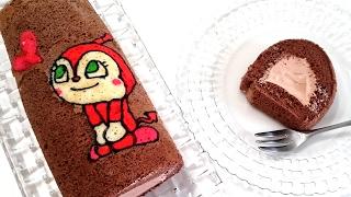 How to make DOKIN chan Deco Roll Cake|ドキンちゃん デコロールケーキの作り方