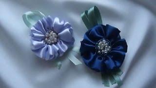 getlinkyoutube.com-Как сделать цветок из ленты и бисера. Мастер класс.