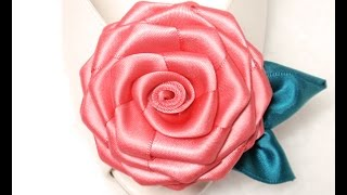 getlinkyoutube.com-DIY, How to make Ribbon Rose, Flat, Tutorial, Flores en cintas