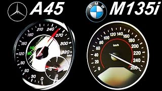 getlinkyoutube.com-MERCEDES A45 AMG vs BMW M135i Acceleration 0-250 Autobahn top Speed onboard Sound 1er A Klasse