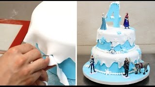 getlinkyoutube.com-Frozen Birthday Cake / Pastel Frozen