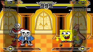 getlinkyoutube.com-Sans & Papyrus vs Spongebob & Patrick MUGEN Battle!!!