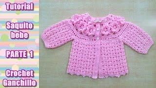 getlinkyoutube.com-DIY Como tejer saquito, sueter, chaqueta, chambrita para bebe en crochet, ganchillo (1/4)