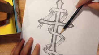 how to draw a cross with a ribbon