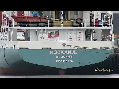 Click to view video ROCKANJE V2BZ9 IMO 9196228 Emden cargo seaship merchant vessel Seeschiff