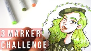 getlinkyoutube.com-Art challenge | 3 MARKER CHALLENGE #2 with Copics | Liz Lapointe