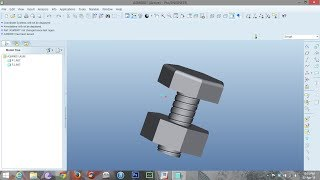 "Pro-E wildfire 5.0 tutorial 4""bolt and nut"" by Helical sweep."