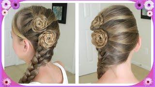 getlinkyoutube.com-Flower Accented Side French Braid / Spring Hairstyles / Bonita Hair Do