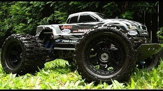 getlinkyoutube.com-Traxxas E-Maxx Jumps Stunts and Donuts FLM RPM Pro-Line Brushless MIP EMaxx HPI Associated MT