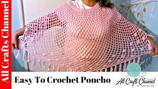 getlinkyoutube.com-Easy to crochet poncho / Susbtitulos en español - Yolanda Soto Lopez