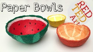 How to make a Bowl from Shredded Paper (DIY Watermelon Craft)