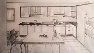 getlinkyoutube.com-How to draw - one point perspective kitchen with furniture, desk